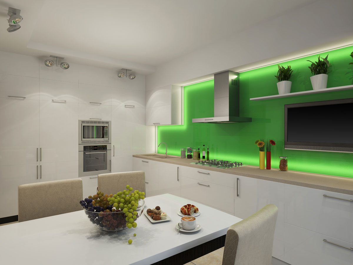 White Staight Island Kitchen With Green Wall