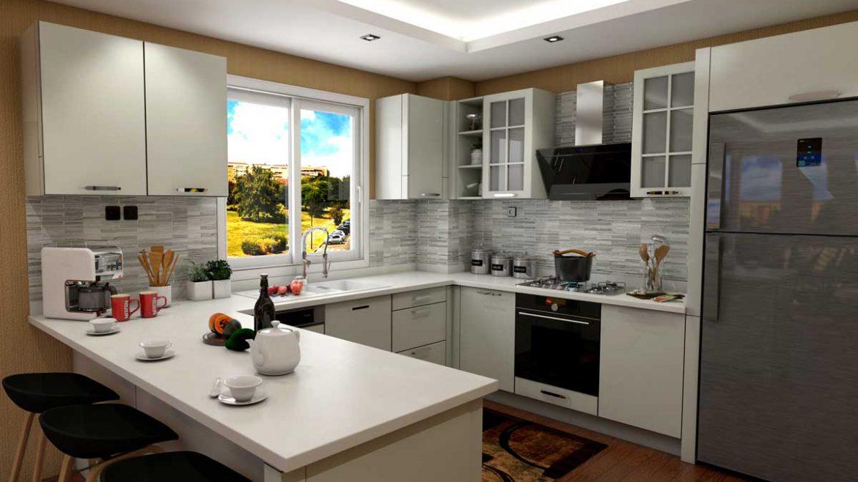 White U Shape Modern Kitchen With Appliances