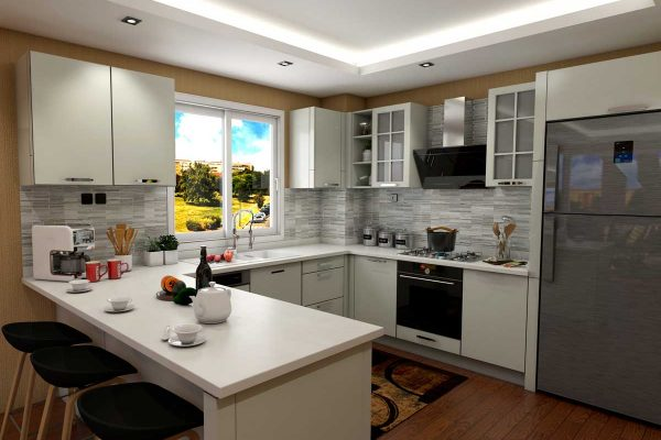 White U Shape Modern Kitchen With Appliances