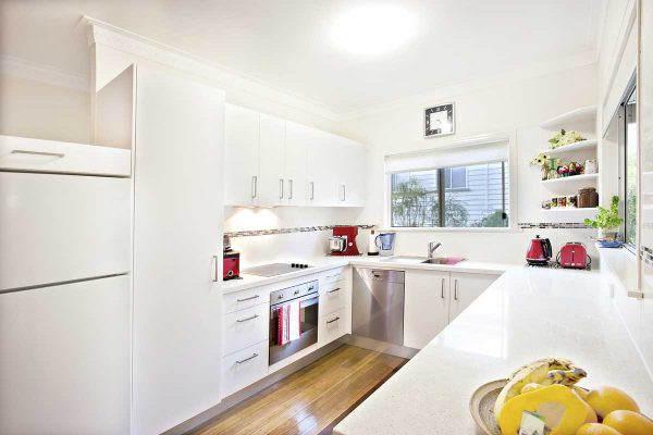 White U Shape Modular Kitchen
