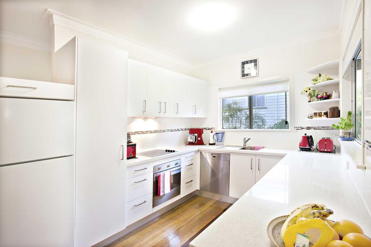White U Shape Modular Kitchen