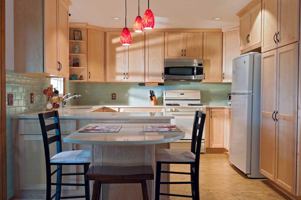 Wood Style Peninsula Modular Kitchen Cabinet