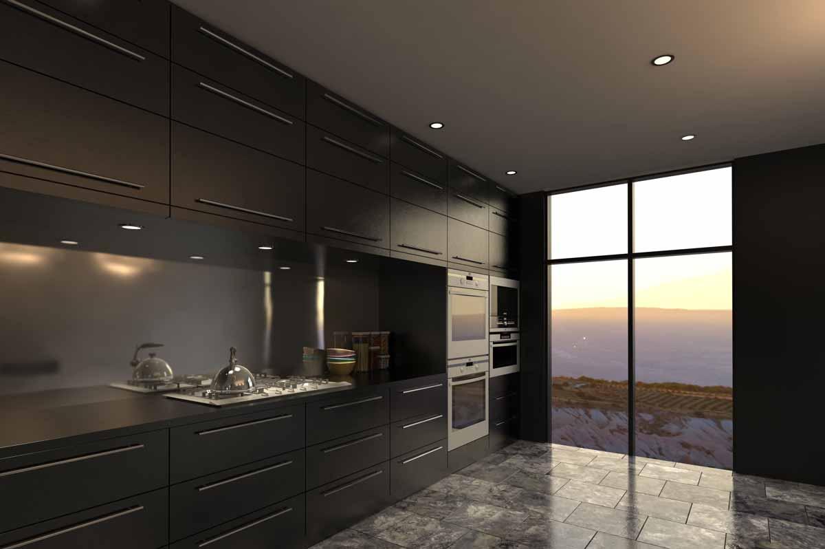 Black Straight Line Kitchen