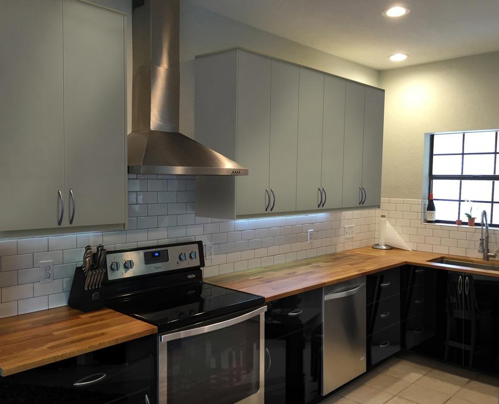 High Gloss Gray L Shape Kitchen