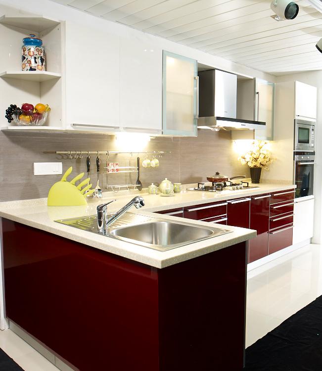 Maroon L Shape Kitchen