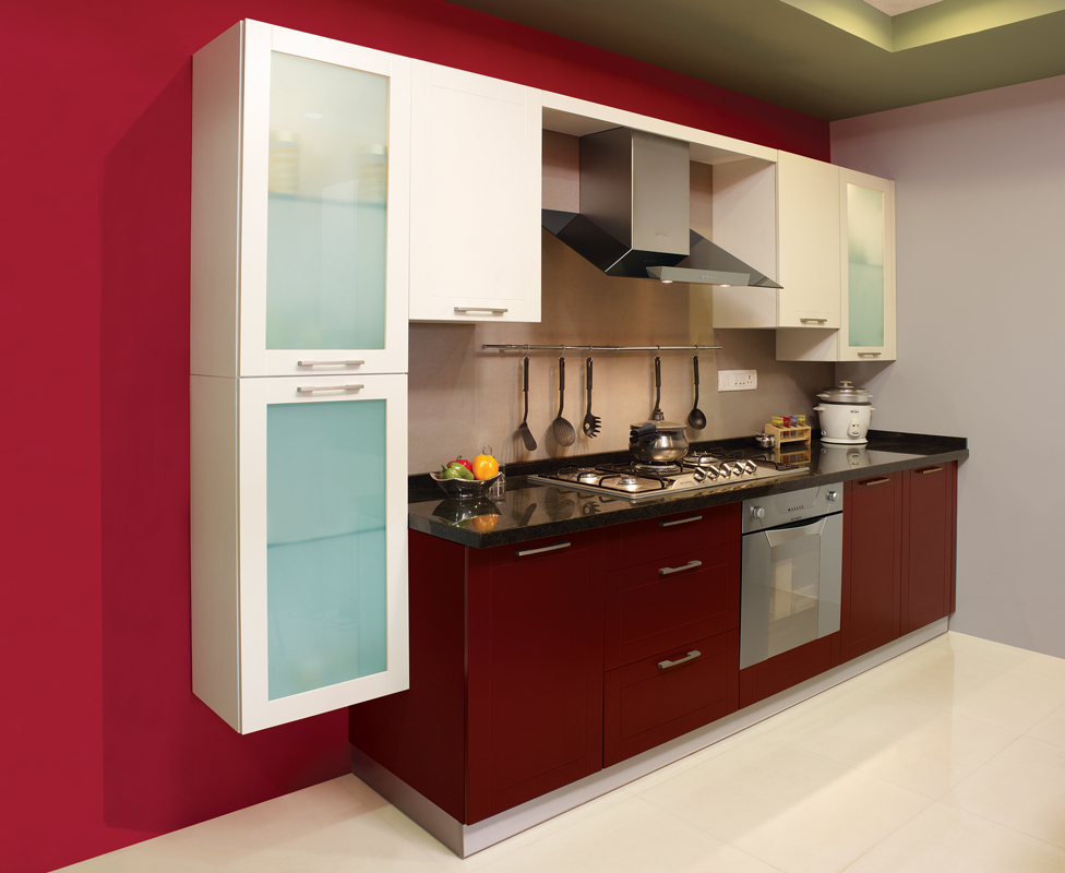 Rich Red Straight Line Kitchen